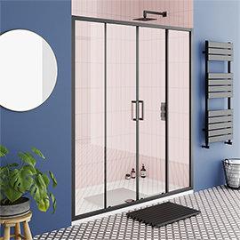 Turin Matt Black 1400 Double Sliding Shower Door