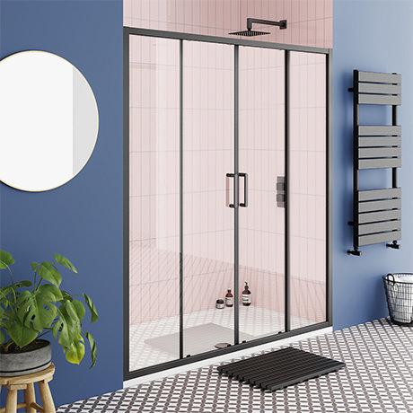 Turin Matt Black 1700 Double Sliding Shower Door