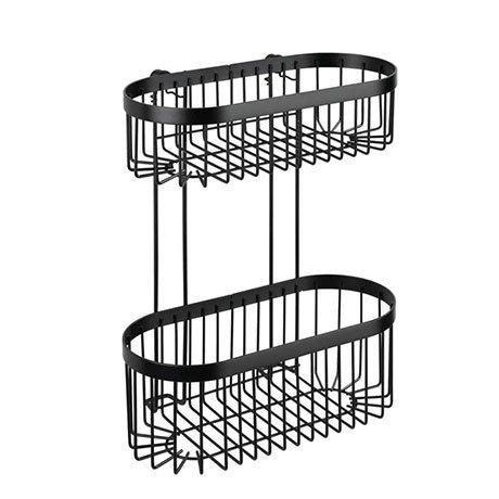 Black 2-Tier Wire Shower Basket