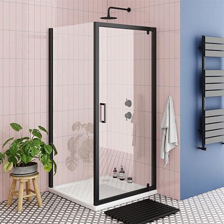 Turin Matt Black 760 x 760mm Pivot Door Shower Enclosure + Pearlstone Tray