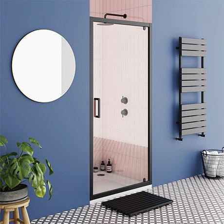 Turin Matt Black 760 x 1850 Pivot Shower Door