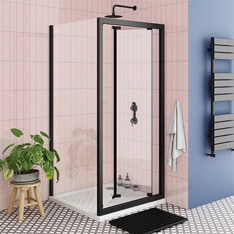 Turin Matt Black 700 x 700mm Bi-Fold Door Shower Enclosure + Pearlstone Tray