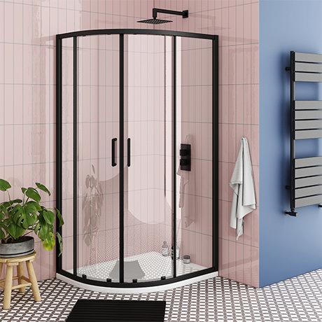 Turin Matt Black 900 x 760mm Offset Quadrant Shower Enclosure