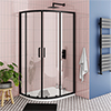 Turin Matt Black 900 x 760mm Offset Quadrant Shower Enclosure profile small image view 1