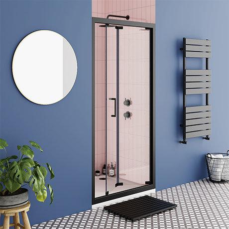 Turin Matt Black 900 x 1850 Bi-Fold Shower Door