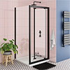 Turin Matt Black 900 x 900mm Bi-Fold Door Shower Enclosure + Pearlstone Tray profile small image view 1