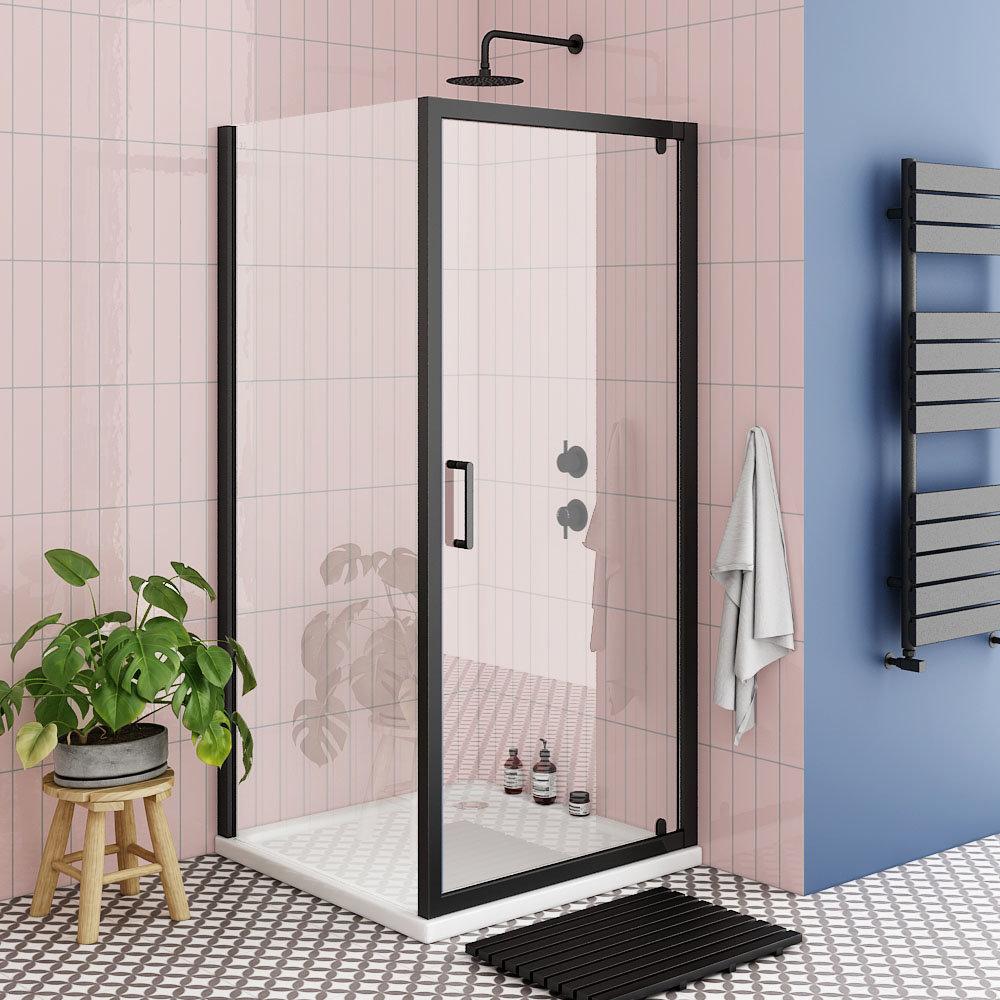 Turin Matt Black 900 x 900mm Pivot Door Shower Enclosure + Pearlstone Tray