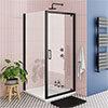 Turin Matt Black 900 x 900mm Pivot Door Shower Enclosure + Pearlstone Tray profile small image view 1