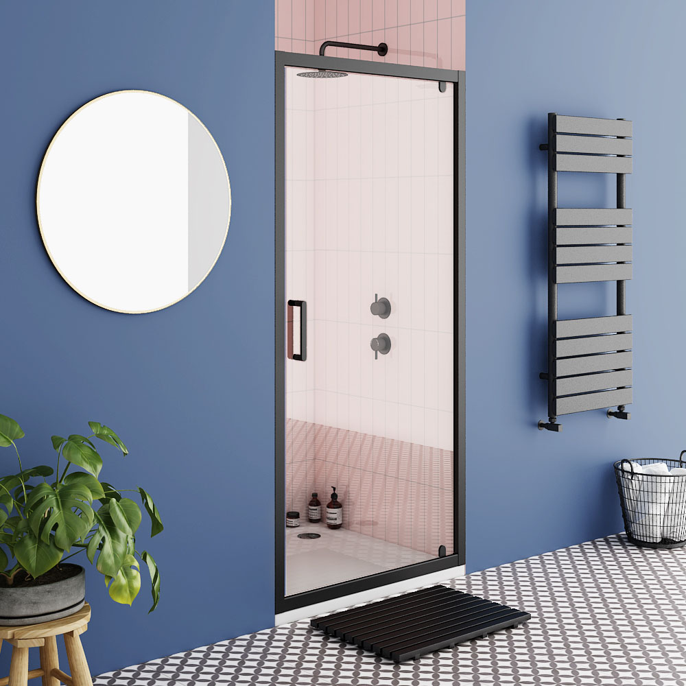 Turin Matt Black 900 x 1850 Pivot Shower Door