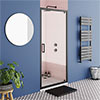 Turin Matt Black 900 x 1850 Pivot Shower Door profile small image view 1