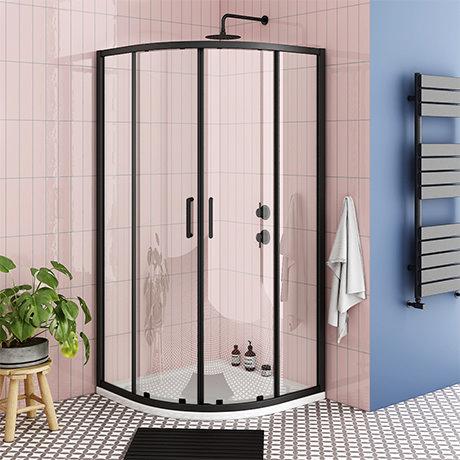 Turin Matt Black 900 x 900mm Quadrant Shower Enclosure + Pearlstone Tray