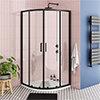 Turin Matt Black 900 x 900mm Quadrant Shower Enclosure + Pearlstone Tray profile small image view 1