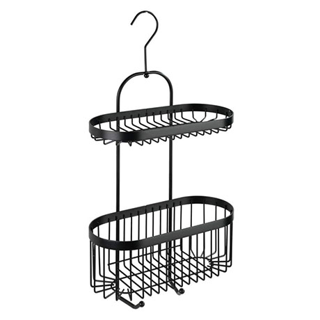 Black 2-Tier Hanging Shower Caddy
