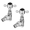 Ashford Black Angled Traditional Radiator Valves profile small image view 1