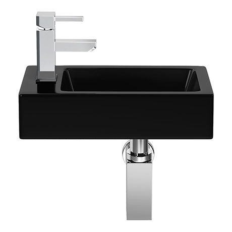 Rondo Black 365 x 180mm Wall Hung Small Cloakroom Basin 1TH