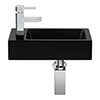 Rondo Black 365 x 180mm Wall Hung Small Cloakroom Basin 1TH profile small image view 1