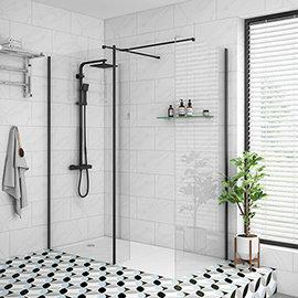 Arezzo 1950mm Matt Black Profile Wetroom Screen + Square Support Arm