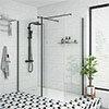 Arezzo 1950mm Matt Black Profile Wetroom Screen + Square Support Arm profile small image view 1