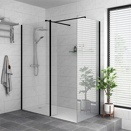 Arezzo 1900mm Matt Black Wetroom Screen + Square Support Arm