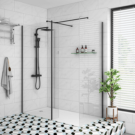 Arezzo 1950mm Matt Black Profile Wetroom Screen + Square Support Arm