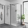 Arezzo 1900mm Matt Black Profile Wetroom Screen + Square Support Arm profile small image view 1