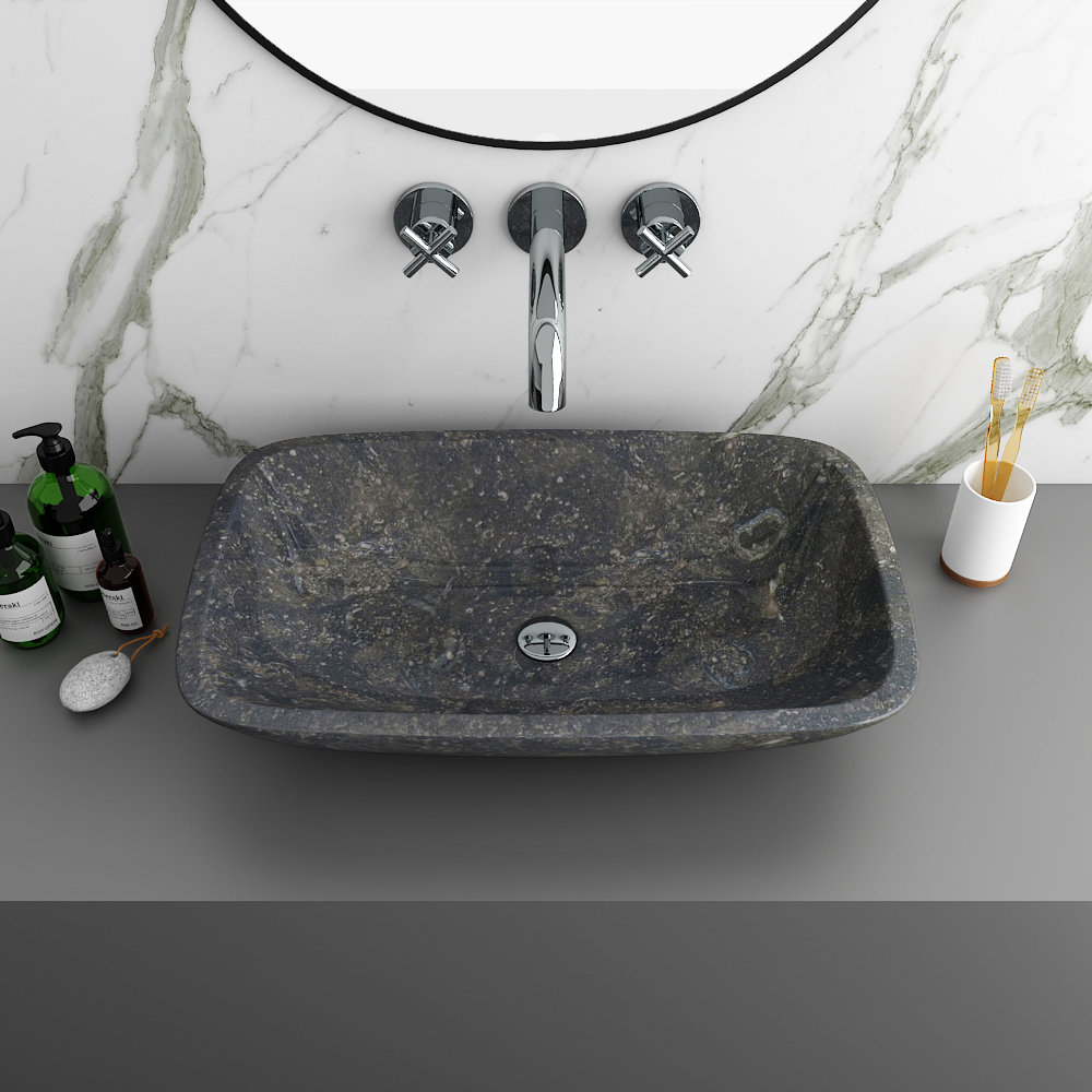 Blue Limestone 600 x 380mm Counter Top Rectangle Basin 0TH - BLST003