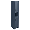 Chatsworth Traditional Blue Tall Cabinet with Matt Black Handles profile small image view 1
