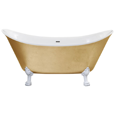 Heritage Lyddington Freestanding Acrylic Bath (1730 x 750mm) with Feet - Gold Effect