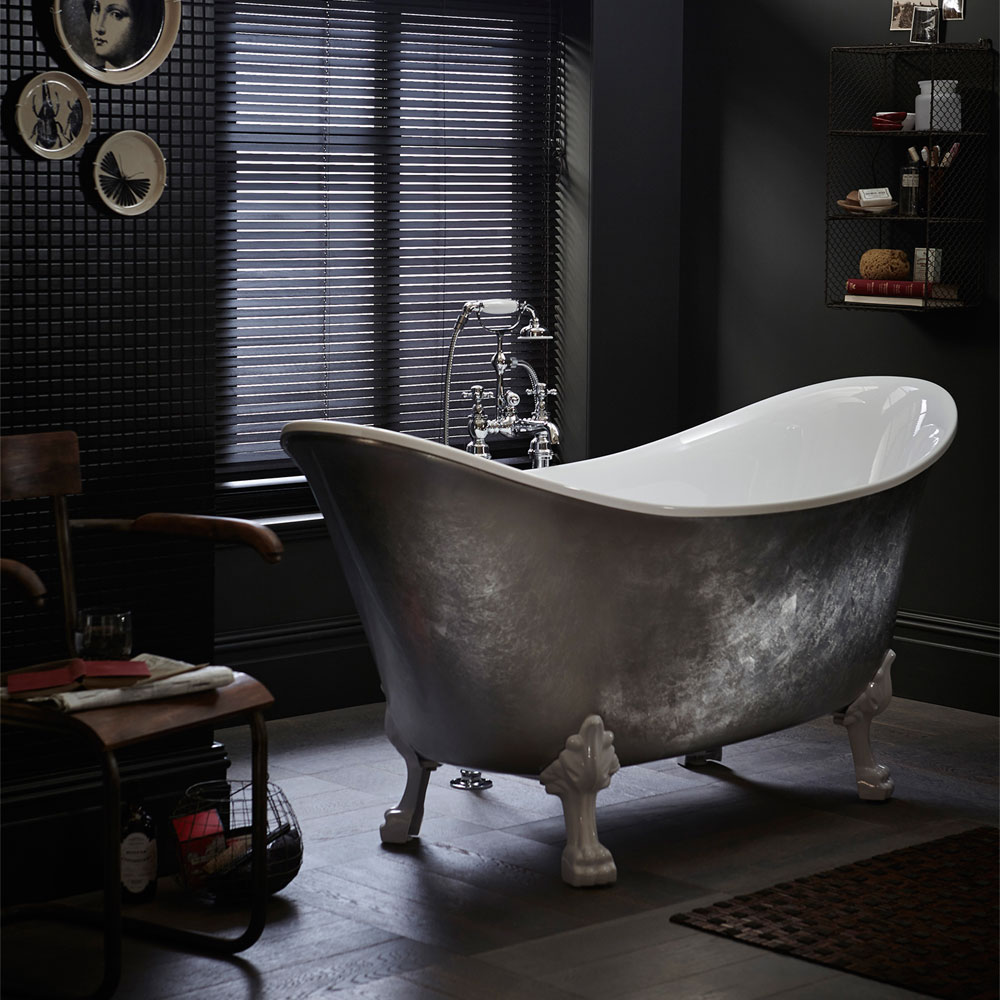 Heritage Lyddington Freestanding Acrylic Bath (1730 x 750mm) with Feet - Stainless Steel Effect Standard Large Image