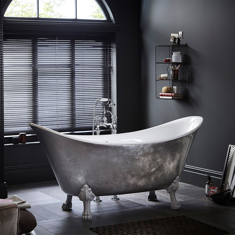 Heritage Lyddington Freestanding Acrylic Bath (1730 x 750mm) with Feet - Stainless Steel Effect Large Image