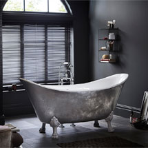 Heritage Lyddington Freestanding Acrylic Bath (1730 x 750mm) with Feet - Stainless Steel Effect Medium Image