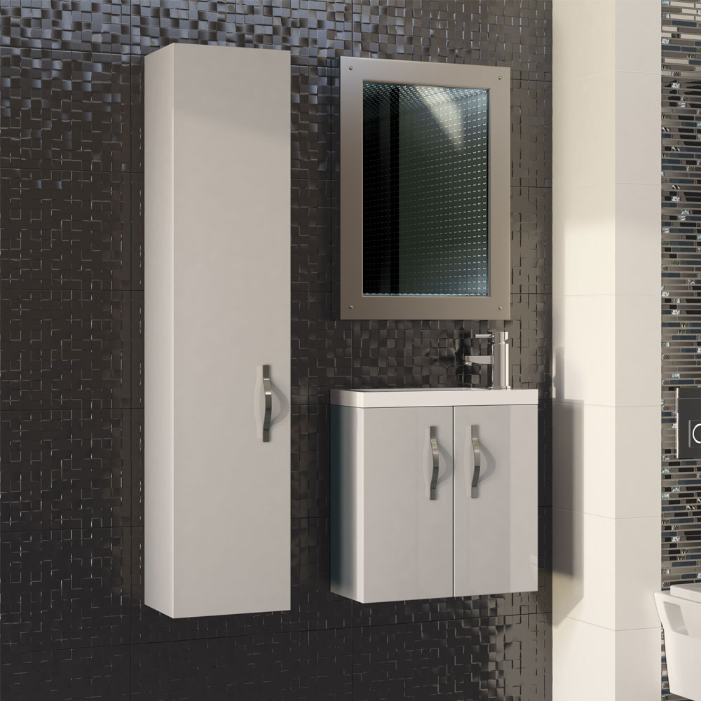 Apollo 300mm Wall Hung Tall Unit (Gloss Cashmere - Depth 250mm) Profile Large Image