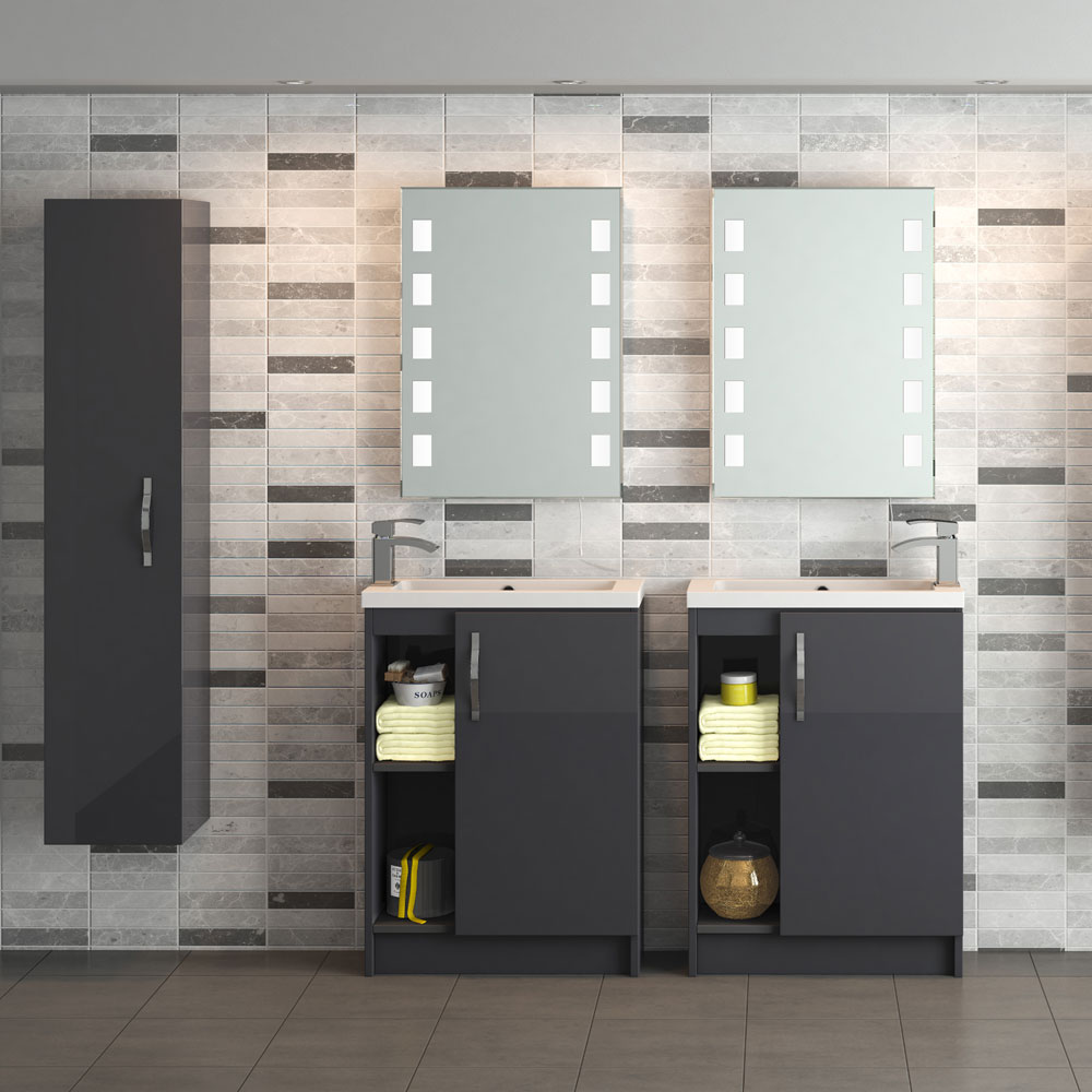 Apollo 600mm Compact Open Shelf Vanity Unit (Gloss Grey - Depth 255mm)  Standard Large Image