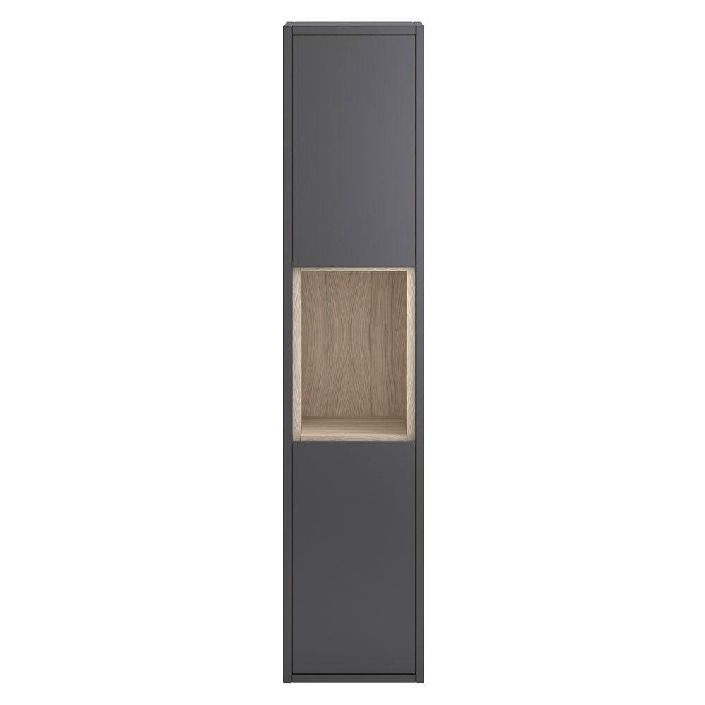 Coast Wall Hung Tall Unit - Grey Gloss/Driftwood Large Image