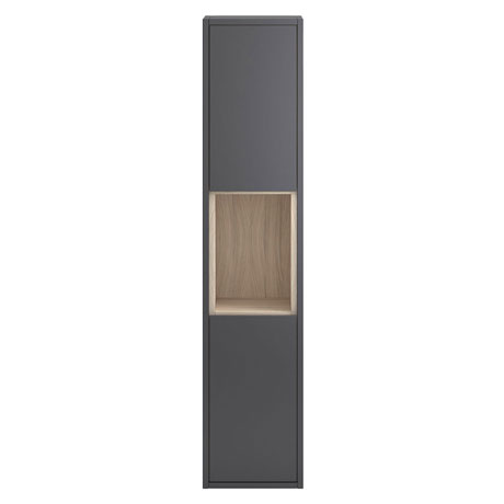 Coast Wall Hung Tall Unit - Grey Gloss/Driftwood