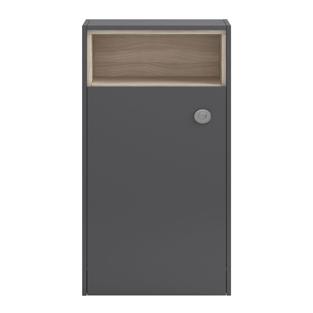 Coast 600mm WC Unit with Open Shelf - Grey Gloss/Driftwood Large Image