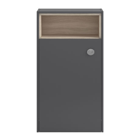 Coast 600mm WC Unit with Open Shelf - Grey Gloss/Driftwood