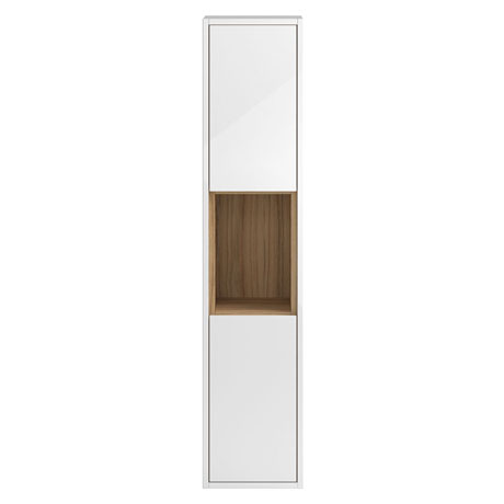 Coast Wall Hung Tall Unit - Gloss White/Coco Bolo