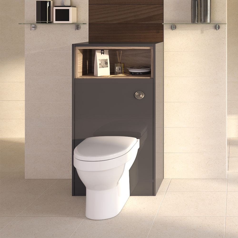 Coast 600mm WC Unit with Open Shelf - Grey Gloss/Driftwood  Profile Large Image