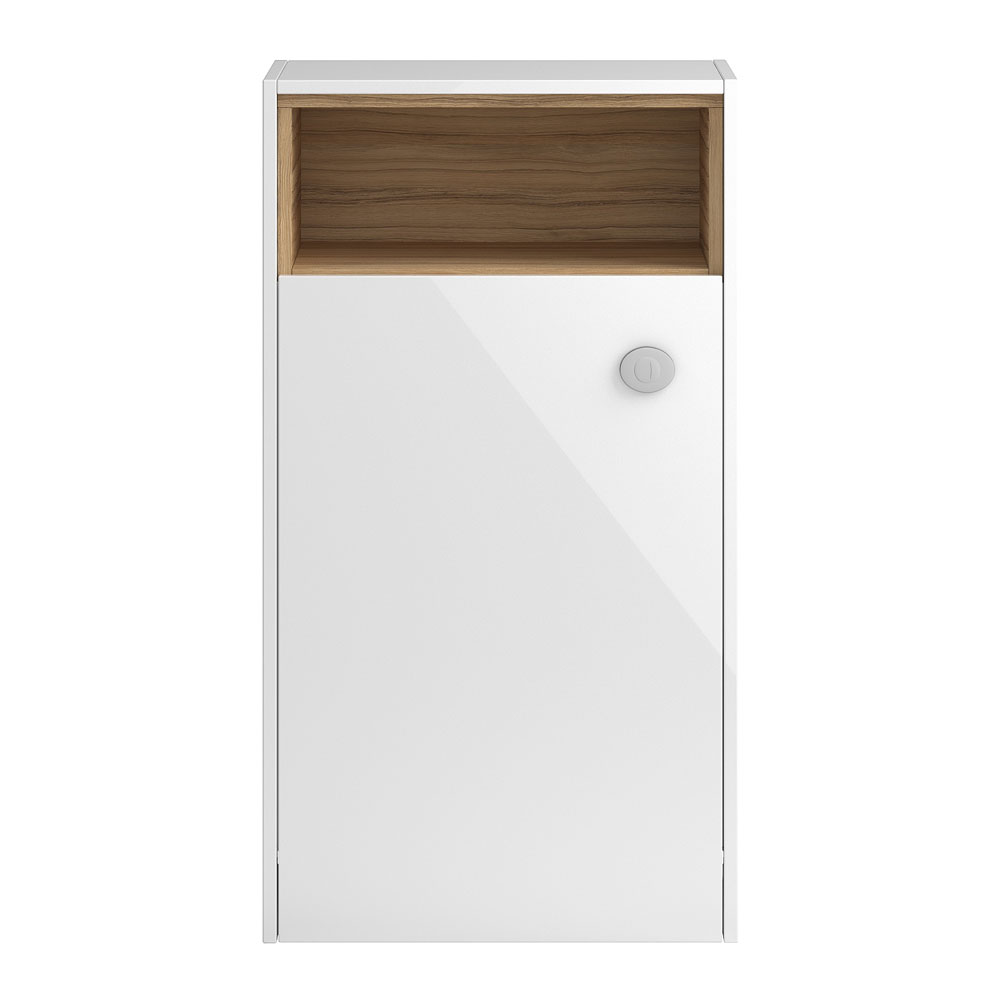 Coast 600mm WC Unit with Open Shelf - Gloss White/Coco Bolo Large Image