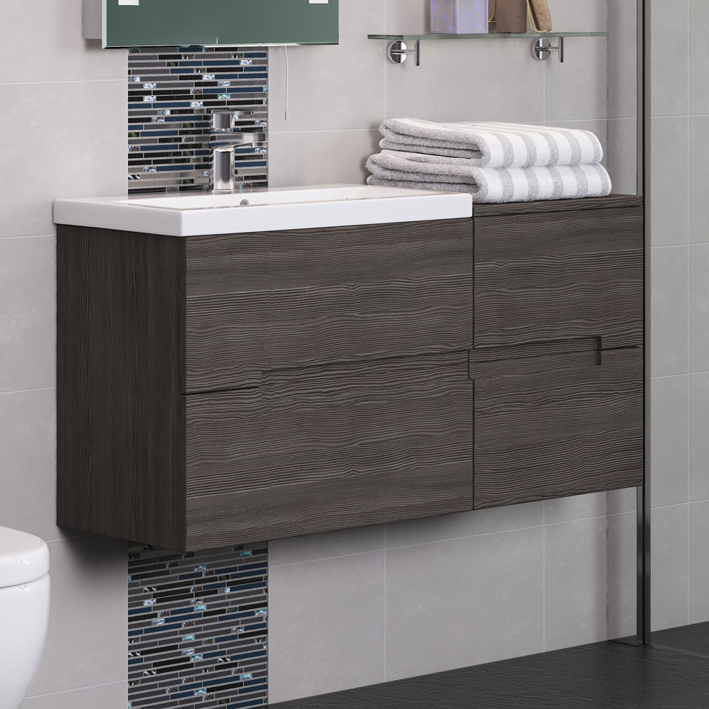 Urban 400mm Wall Hung Side 2 Drawer Unit - Grey Avola  Profile Large Image