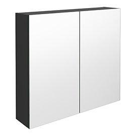 Brooklyn 800mm Gloss Grey Bathroom Mirror Cabinet - 2 Door