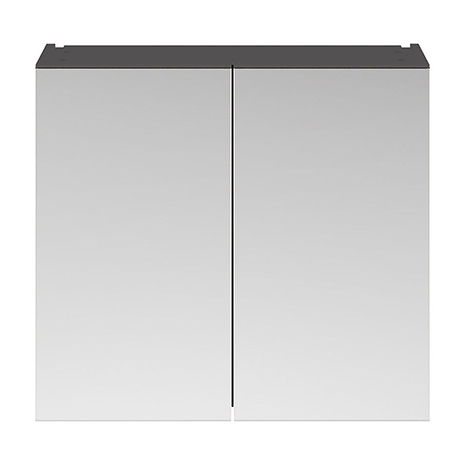 Brooklyn 800mm Gloss Grey Bathroom Mirror Cabinet - 2 Door