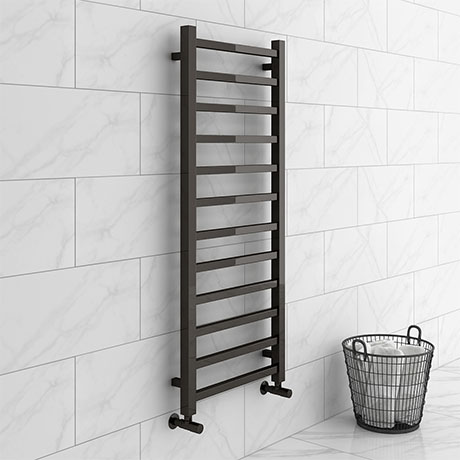 Brooklyn Square 1200 x 500mm Black Nickel Heated Towel Rail