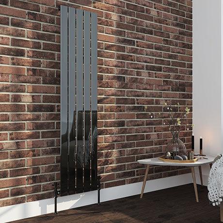 Urban Black Nickel 1600 x 375mm Vertical Single Panel Radiator - 5 Bars