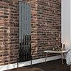 Urban Black Nickel 1600 x 375mm Vertical Single Panel Radiator - 5 Bars profile small image view 1