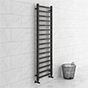 Brooklyn Square 1600 x 500mm Black Nickel Heated Towel Rail profile small image view 1