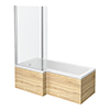 Brooklyn Natural Oak Shower Bath - 1700mm L Shaped Inc. Screen + Panel profile small image view 1