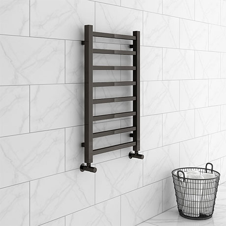 Brooklyn Square 800 x 500mm Black Nickel Heated Towel Rail
