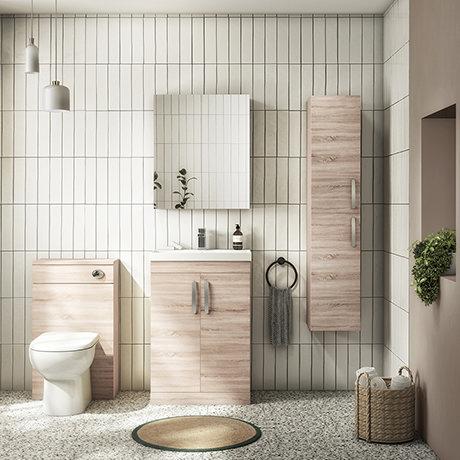 Brooklyn Natural Oak Floor Standing Vanity Furniture Package